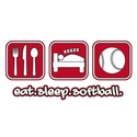 Eat Sleep Softball Design Long Sleeve Shirt - in 18 Shirt Colors