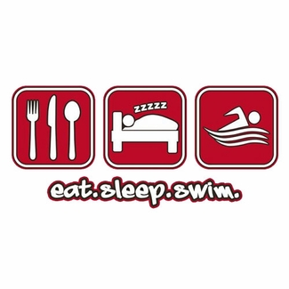 Eat Sleep Swim Design Long Sleeve Shirt - in 18 Shirt Colors