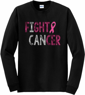 Fight Cancer Pink Ribbon Awareness Long Sleeve Shirt - in 18 Shirt Colors