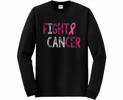Fight Cancer Pink Ribbon Awareness Long Sleeve Shirt - in 20 Shirt Colors
