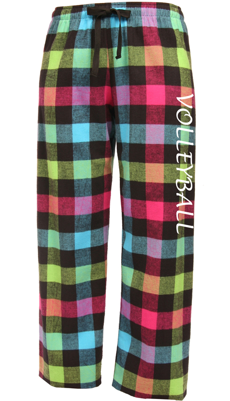 Plaid Flannel Lounge Pajama Pants in 30 Colors w/ Choice of 22 Sport Prints  on Leg or Rear