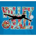 Floral Volley Ball Design Sapphire Blue T-Shirt