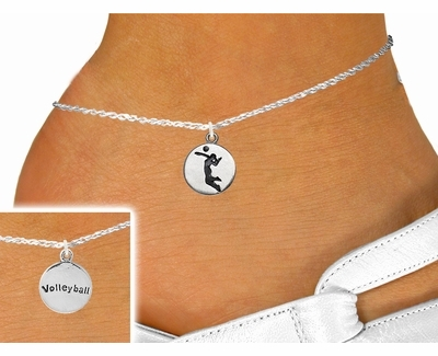 Girl Serving / Volleyball Player Silver Anklet