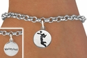 Girl Serving / Volleyball Player Silver Charm Bracelet