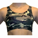 Green & Brown Camo Print Sports Bras