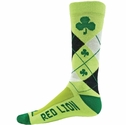 Green Shamrock Argyle Pattern Crew Socks