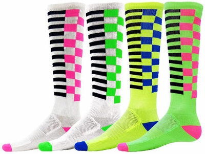 Grids & Squares Zany Knee High Socks - 4 Color Options