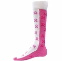 Half & Half Knee High Pink Ribbon Socks