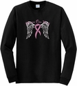 Heaven Can Wait Pink Ribbon Long Sleeve Shirt - in 16 Shirt Colors