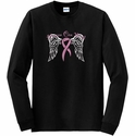 Heaven Can Wait Pink Ribbon Long Sleeve Shirt - in 18 Shirt Colors