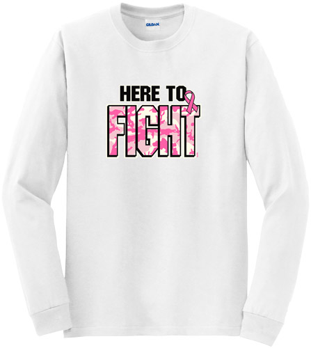Here To Fight Cancer Awareness Long Sleeve Shirt - in 18 Shirt Colors