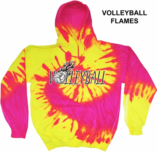 Hot Pink & Yellow Tie-Dye Hooded Sweatshirt - Choice of 10 Volleyball Designs