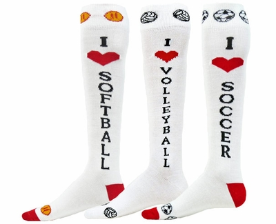 I Heart Knee High Socks in Softball, Volleyball, and Soccer