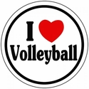 "Small 3"" Round 'I Love Volleyball' Decal"