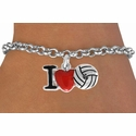 I Love Volleyball Red Heart Bracelet