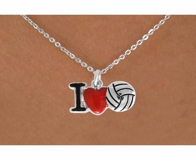 I Love Volleyball Red Heart Necklace