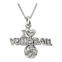 I Love Volleyball Silver Charm Necklace