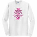 Keep Calm & Carry On Pink Ribbon Long Sleeve Shirt - in 20 Shirt Colors