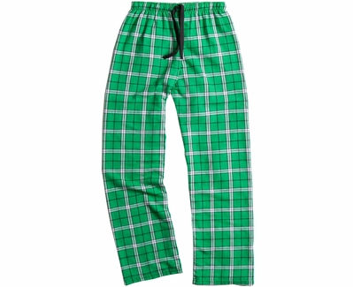 Kelly Green Plaid Flannel Lounge Pants - Choice of 22 Sports on Leg or Rear