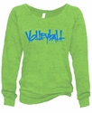 Lime Green Ladies Burnout Fleece Crew w/ Abstract Volleyball Design in 5 Colors