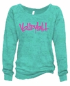 Sea Glass Ladies Burnout Fleece Crew w/ Abstract Volleyball Design in 5 Colors