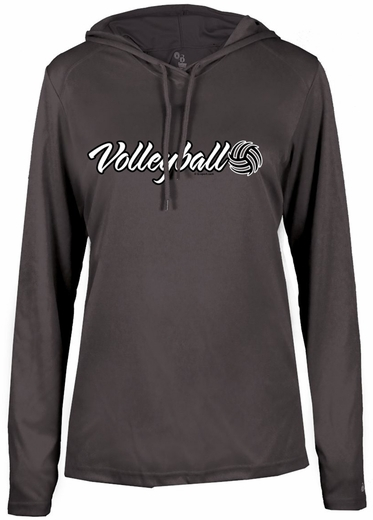Ladies Graphite Grey LS Performance Hooded Tee w/ Volleyball Graphic