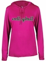 Ladies Hot Pink LS Performance Hooded Tee w/ Volleyball Graphic