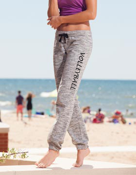 Ladies Marled Black Joggers - Choice of 22 Sports on Leg or Rear