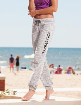 Ladies Marled Grey Jogger Pants with Volleyball Print on Leg
