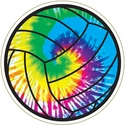 "Large 5-3/4"" Tie Dye Swirl Volleyball Magnet w/ Black Lines"