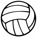 "Large 5-3/4"" Volleyball Magnet w/ Thick Lines"