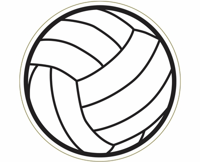 """Large 5-3/4"""" Volleyball Magnet w/ Thin Lines"""