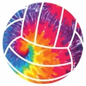 "Large 5-3/4"" Tie Dye Swirl Volleyball Magnet w/ White Lines"