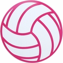 "Large 6"" Volleyball Magnet w/ Pink Lines"