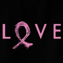Love & Pink Ribbon Cancer Awareness T-Shirt - in 22 Shirt Colors