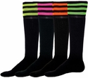 Mach 3 Black & Neon Stripe Knee High Socks - 4 Color Options