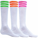 Mach 3 White & Neon Stripe Knee High Socks - 3 Color Options
