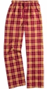 Maroon & Gold Plaid Flannel Lounge Pants - Choice of 22 Sports on Leg or Rear