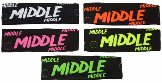 Middle Black Spandex Headband w/ Neon Lettering - in 6 Colors