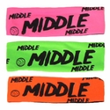 Middle Neon Spandex Headband w/ Black Lettering - in 6 Colors