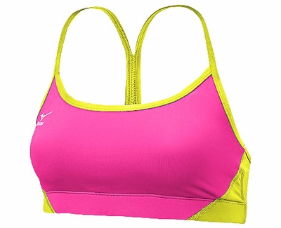 Mizuno Hybrid Hot Pink & Neon Yellow Sport Bra Top