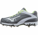 Mizuno Metal Cleated 9-Spike Swift 4 Grey Softball Shoe