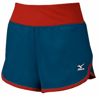 Mizuno Women's Cover Up Shorts in Navy Blue / Red - Shorts