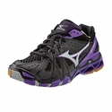 Mizuno Wave Tornado 9 Women's Black, Purple, & Grey Volleyball Shoes