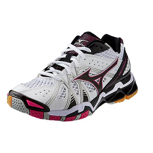 d4bf9f7abb5c Mizuno's White / Pink / Black Wave Tornado 9 Women's Volleyball Shoe ...