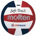 Molten Red-White-Blue Soft Touch Volleyball w/ H.S. Stamp