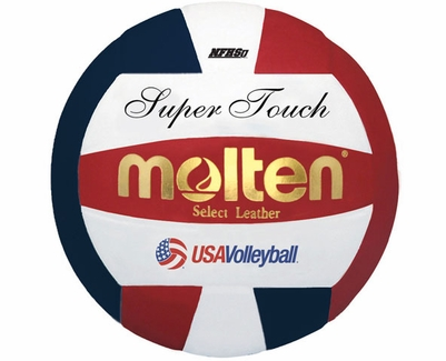 Molten Red-White-Blue Super Touch Volleyball w/ H.S. Stamp