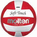 Molten Red-White Soft Touch Volleyball w/ H.S. Stamp