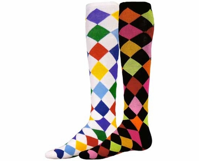Multi-Color Diamond Knee High Socks - in White or Black