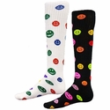 Multi-Color Happy Face Knee High Socks - in White or Black